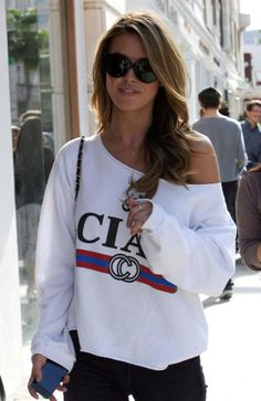 Audrina Patridge in a Rebel Yell boyfriend cut off top.