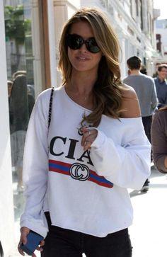 cute, love the off the shoulder sweatshirt.