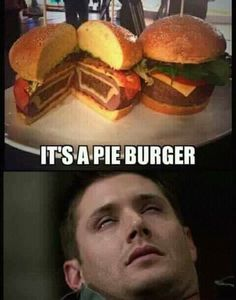 Dean Winchester is pleased about the pie burger. Very pleased. Supernatural Series, Supernatural Wallpaper, Supernatural Quotes, Supernatural Fandom, Sherlock Quotes, Supernatural Bloopers, Supernatural Tattoo, Winchester Supernatural, Sam And Dean Winchester