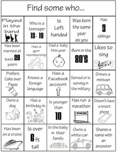 Fun family or class reunion game! First person to call out bingo gets a prize! Family Reunion Activities, Family Games, Family Reunions, Group Games, Youth Activities, Family Reunion Favors, Family Reunion Decorations, Family Events, Planning A Family Reunion
