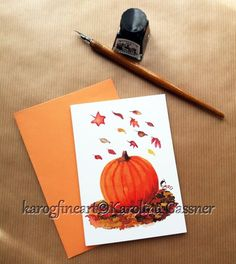 Items similar to Greeting Card With Pumpkin Design, blank inside on Etsy All Design, Envelope, Original Paintings, Greeting Cards, Pumpkin, Messages, The Originals, Handmade Gifts, Artwork