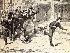 """W pogoni za """"złodziejem"""" Oliverem Twistem, bohaterem powieści K. Dickensa"""