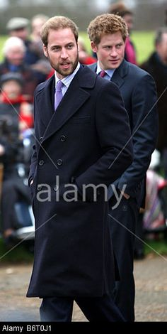 PRINCE WILLIAM  AND PRINCE HARRY AT SANDRINGHAM AT CHRISTMAS WITH A BEARD Stock Photo