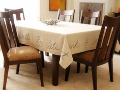 5 Ways to Reinvent Drop Cloth: How to Make a Painted Tablecloth >> http://www.diynetwork.com/decorating/5-easy-decor-projects-to-make-from-a-canvas-drop-cloth/pictures/index.html?soc=pinterest