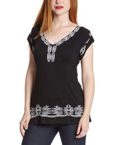 Look what I found on #zulily! Simply Irresistible Black & White Embroidered V-Neck Top by Simply Irresistible #zulilyfinds