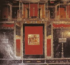"""or 10 BC - 60 AD) """"Third Style wall paintings are comparatively more blank and bare, with lots of open, empty space. The architectural elements (columns, etc) are still painted, but they have lost their solidity. Ancient Rome, Ancient Art, Ancient History, Art History, Rome Antique, Art Antique, Faux Painting Walls, Wall Paintings, Naples"""