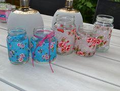 Stipjes en datjes: Tutorial glazen potjes decoreren met stof en lint
