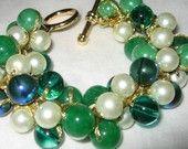 Pearls and Green Blue Malachite and Azurite Glass Stone Beads, Pearl...  SerebaDesigns  $56.00 USD