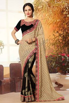 Sari with Embroidered Pallu presented by Andaaz Fashion like Beige Black Georgette Satin Saree with Black Silk Blouse. Embellished with Embroidered, Zari, U Neck Blouse, Short Sleeve, and Jacquard Georgette Pallu with Raw Silk Blouse. Georgette Fabric, Georgette Sarees, Silk Sarees, Indian Designer Sarees, Indian Sarees Online, Black Silk Blouse, Satin Saree, Casual Saree, Traditional Sarees