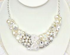 Bridal Statement Bib Rhinestones & Pearl Necklace Bridal