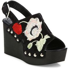 Alexander McQueen Floral-Embroidered Suede Wedge Slingbacks ($995) ❤ liked on Polyvore featuring shoes, sandals, apparel & accessories, open toe sandals, open toe wedge sandals, platform wedge sandals, platform shoes and platform sandals