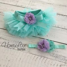 SET Mint/Aqua tutu skirt bloomers diaper cover, lavender purple flower headband, ruffles all around, newborn infant toddler little baby girl mermaid birthday party cake smash by HoneyLove Boutique