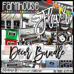 """Farmhouse Flair PRIMARY Classroom Decor Bundle: I love the farmhouse trend, but I also love a BRIGHT and cheery classroom. This bundle is full of galvanized metal, chalkboards, lanterns, string lights, shiplap, and it goes back to the basics with PRIMARY colors to liven it up! It is sure to give you the PERFECT """"home away from home."""" #HollieGriffithTeaching #BackToSchool #FarmhouseClassroom"""