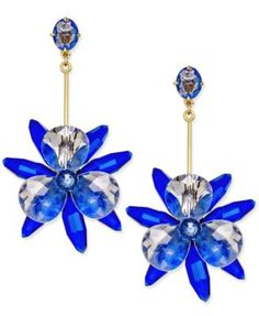 kate spade new york Gold-Tone Blue Flower Drop Earrings