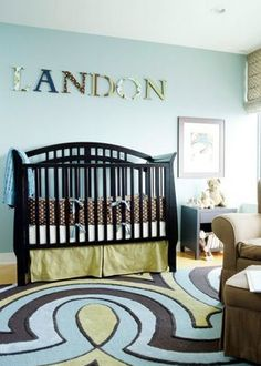 Baby Boy Nursery Decorating Ideas boy nursery themes –how funny is it that landon is written on this wall.. coincidence? I think not.
