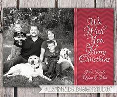 Printable Christmas Card - Chevrons - Photo Card - Holiday Card - Digital File - Custom Colors - We Wish You a Merry Christmas. $14.00, via Etsy.