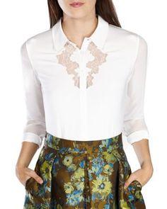 KAREN MILLEN Lace Inset Jersey Shirt   Bloomingdale's