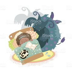 Monster sits at bed and frightened girl royalty-free stock vector art
