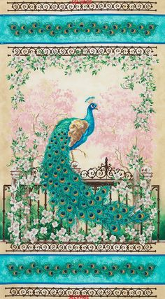 Peacock Bird Jewel of the Garden w Pink by Fabricsfromtheheart