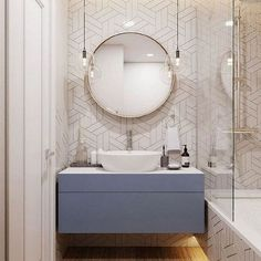 Amazing DIY Bathroom Ideas, Bathroom Decor, Bathroom Remodel and Bathroom Projects to help inspire your master bathroom dreams and goals. Bathroom Layout, Modern Bathroom Design, Bathroom Interior Design, Small Bathroom, Bathroom Ideas, White Bathroom, Modern Bathroom Lighting, Industrial Bathroom, Interior Ideas