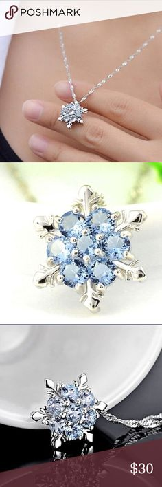 925 silver snow flake pendant New snow flake blue sapphire 925 silver pendant , please note: just selling the pendant if you need a chain too please contact me before purchase I will bundle , check other post for chain price! Jewelry Necklaces