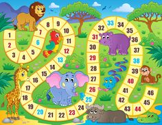 Board Game Area Rug by Lunarable, African Safari Concept Wildlife Elephant Hippo Giraffe Lion Happy Exotic Play, Flat Woven Accent Rug for Living Room Bedroom Dining Room, x 5 FT, Multicolor Board Game Themes, Board Games, Board Game Template, Math Stem, Picture Tree, Diy Games, Math For Kids, Preschool Classroom, Activity Games