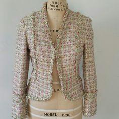 Jacket Boucle Jacket Fringe and Rose Detail Ice Jackets & Coats