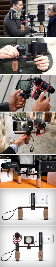 Shoulderpod's series of phone/camera rigs work beautifully to not just give you a stable shooting platform, but also allow you to connect various peripherals to your shooting device. Shoulderpod makes a variety of shooting rigs and theX1is by far the most stable and accommodating of them all.