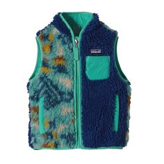 Made with recycled polyester fleece, our Baby Retro-X® Vest offers warm, windproof protection against elements. Check it out at Patagonia.com.