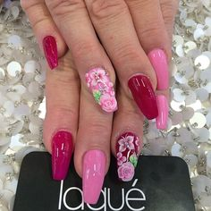 Full set soju design $55 red, pink, berry red with flowers nails done by #laquenailbar by laquenailbar http://ift.tt/1m9yNaD
