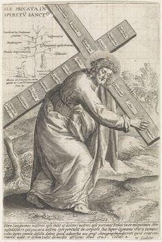 Raphaël Sadeler (II)   Christus draagt het kruis met de zonden van de wereld, Raphaël Sadeler (II), Raphaël Sadeler (I), 1560 - 1632   Christus met het kruis op weg naar Golgotha. Op het kruis zestien zonden in het Latijn. Op de achtergrond de moord op Abel door Caïn, de boom van de kennis van goed en kwaad en de zelfmoord van Judas. De prent heeft een Latijns onderschrift.