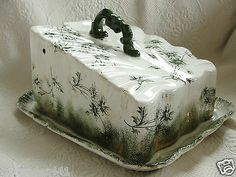 Victorian Era Covered Cheese Dish with Green Floral Decorations | eBay