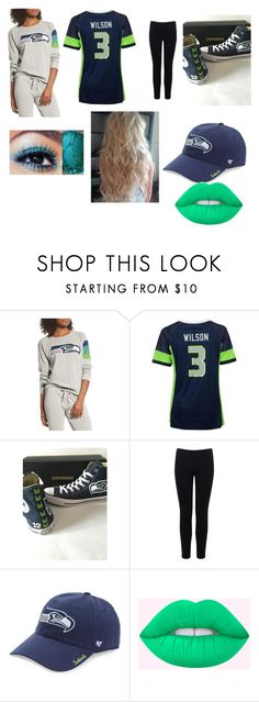 """""""Seahawks"""" by hzmwilcox ❤ liked on Polyvore featuring Junk Food Clothing, Majestic, Warehouse and '47 Brand"""