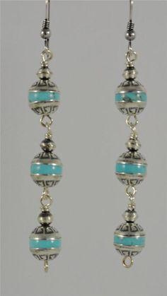 Kingman Turquoise Navajo Native American Sterling Silver Earrings Dangle 3 Tier
