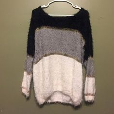 I just added this to my closet on Poshmark: Fuzzy color-block sweater. Price: $30 Size: M