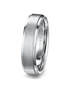 Men's Platinum 6mm Wedding Band with Raised Satin Center & Bright Edges…
