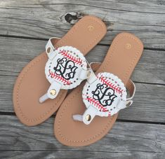 4ae4e8e12 Baseball flipflops monogrammed for you. Look your best on the field  cheering on your favorite baseball player