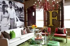 Love the exposed brick and the wall hangings