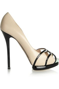 Nicholas Kirkwood nude leather and patent-leather pumps