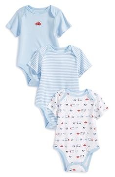 Little Me 'Traffic' Cotton Bodysuits (Set of 3) (Baby Boys) available at #Nordstrom