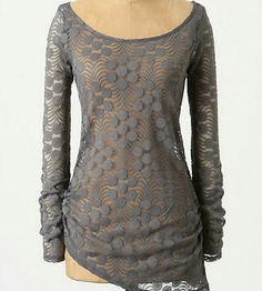 Anthropologie | Meadow Rue Lace Tunic Gray, lace/mesh & dot design, asymetrical and rouched on both sides. Makes a great layering pieces over a cami. This is a delicate fabric and if you look closely you can see pilling/small snags, still in very good condition with no holes, etc. Anthropologie Tops