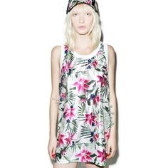 Joyrich Optical Garden Tank (£19) via Polyvore featuring tops, white tank top, joyrich, relaxed fit tank top, white singlet and draped tank top