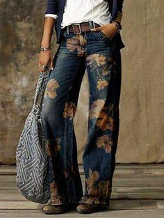 Fashion Prints, Boho Fashion, Autumn Fashion, Fashion Outfits, Womens Fashion, Jeans Fashion, Trousers Fashion, Fashion Art, Ropa Shabby Chic