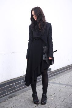 Fashion blogger Stephanie of FAIIINT wearing Choies black unicorn clutch bag, Todd Lynn for Topshop cropped Tux Jacket, Topshop Asymmetric top, A Wear skirt, Rick Owens wedges, ONecklace name necklace. All black, goth, dark, street style.