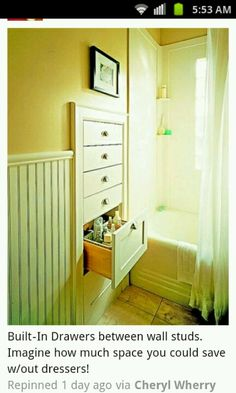 Built-In Drawers between wall studs.  Imagine the space you'll save without dressers! Could be used for any room or hallway in the house...
