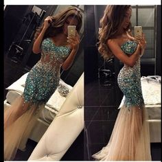 The mermaid prom dress are fully lined, 8 bones in the bodice, chest pad in the bust, lace up back or zipper back are all available, total 126 colors are available. This dress could be custom made, there are no extra cost to do custom size and color. Description mermaid prom dress 1, Mater...