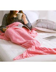 Mother & Kids Yarn Knitted Mermaid Tail Blanket Handmade Crochet Mermaid Blanket Kids Throw Bed Wrap Soft Sleeping Bag Family Look 195*90cm Elegant In Style