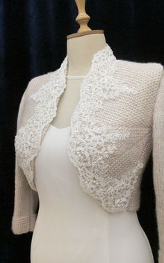 This wedding bolero has been made in mohair with knitting technique..I used beaded scalloped edge trim on front for decorating.This bolero can be bride accessory with wedding dresses.You can use evening clothes.Very soft, light, elegant and stunning. Made to order.Please expect 10-12 days for your item to be handmade and prepared for shipment. color.....champagne Any color and size is possible.Please, contact me if you would like to make an order for other colors.Also I can send them with…