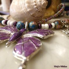 Mystic Butterfly Purple Enamel Filled Double by WolfsWittles