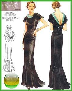 vogue 2609 Glamorous Vintage Model 1934 Gown Patterns